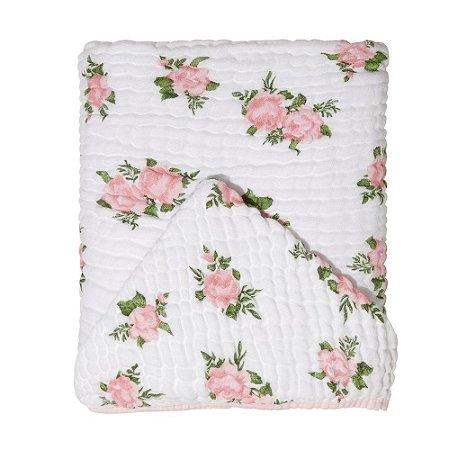 Toalha De Banho Bebê Soft Com Capuz Rosas Papi