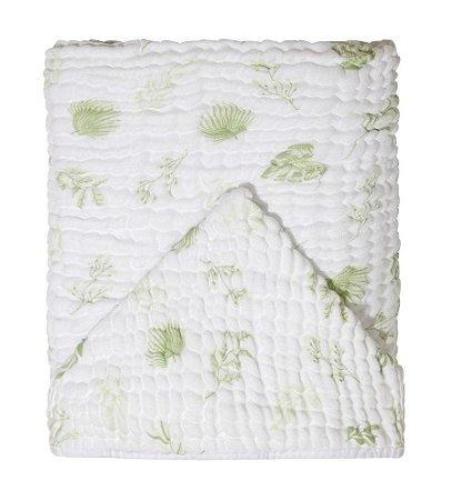 Toalha De Banho Bebê Soft Com Capuz Folhas Verde Papi