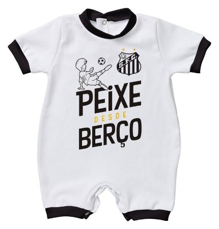 Macacão Bebê Santos Peixe Desde Berço - Torcida Baby