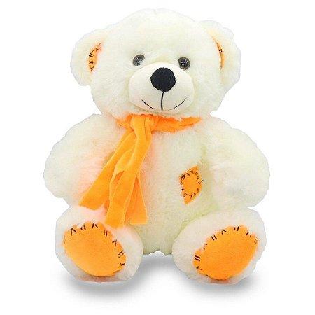 Urso de Pelúcia com Cachecol Laranja 25cm Unik Toys