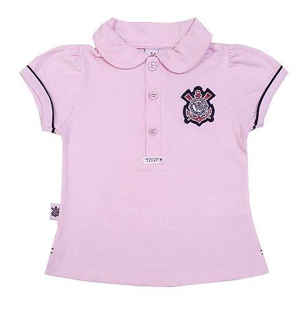 79aca65c3fce7 Camisa Polo Infantil Corinthians Rosa Oficial