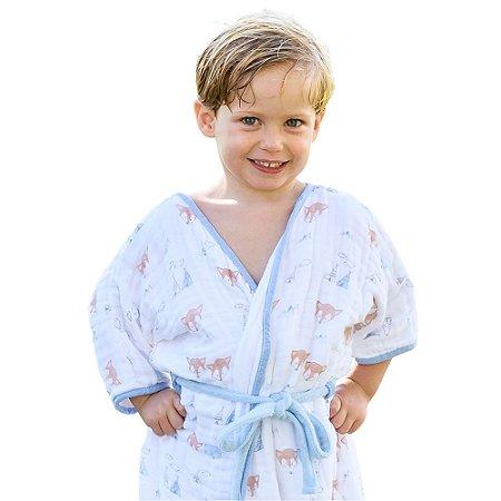 Roupão Infantil Atoalhado Papi Azul Raposa