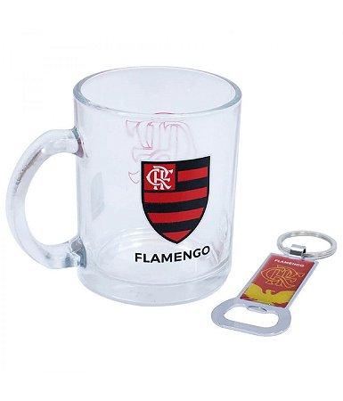 Caneca de Vidro Flamengo Com Abridor 350ml Oficial