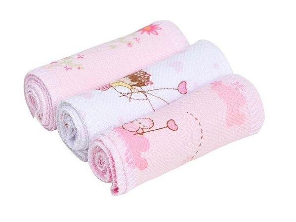 Faixa Umbilical Flanelada Com 03 Peças Rosa Papi