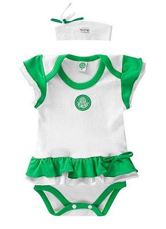 Body Vestido Bebê Palmeiras com Tiara Oficial