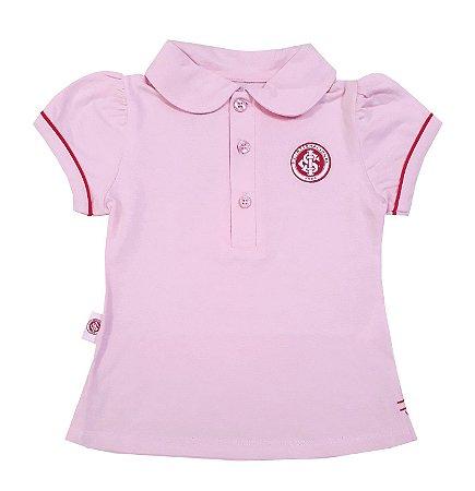 Camisa Polo Infantil Internacional Rosa Oficial 4d3adafe889a9