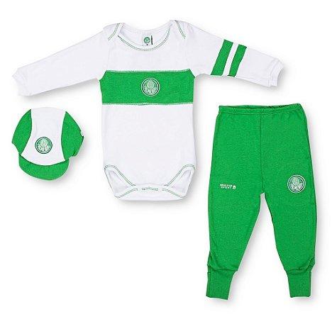 Kit Bebê Palmeiras Com Body Calça Boné Oficial
