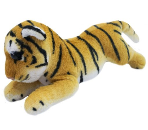Pelúcia Tigre Filhote Deitado Realista 25cm