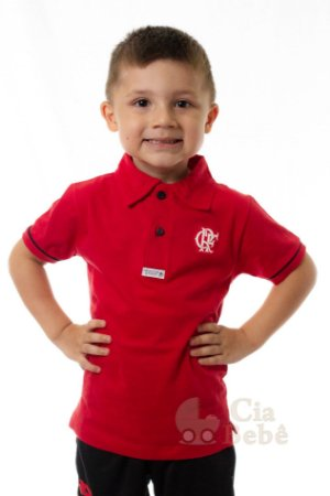Camisa Polo Infantil Flamengo Vermelha Oficial