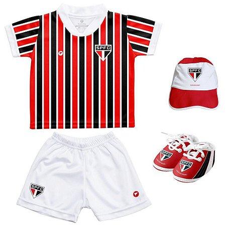Kit Bebê São Paulo Uniforme Listrado 4 Pçs Oficial