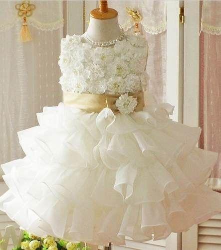 Vestido Bebê Festa Casamento Batizado Com Babado