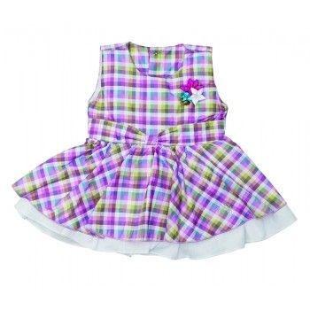 Vestido Infantil ZigMundi Xadrez Rosa Rock Fashion