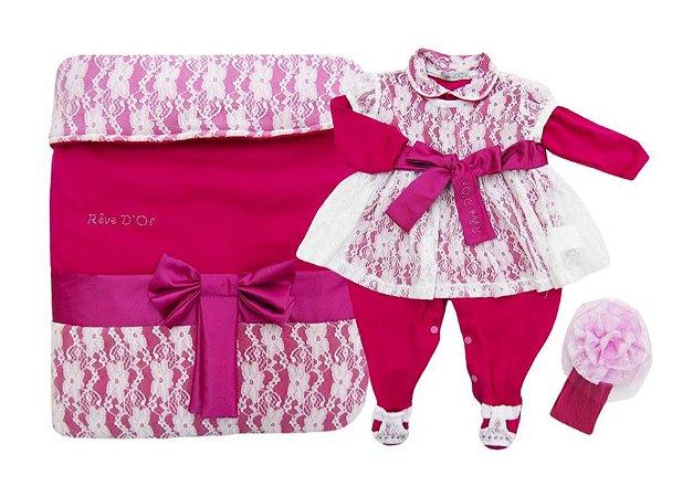 88eafc57ad Kit Saída de Maternidade Luxo Rendado Rosa Branco Revedor