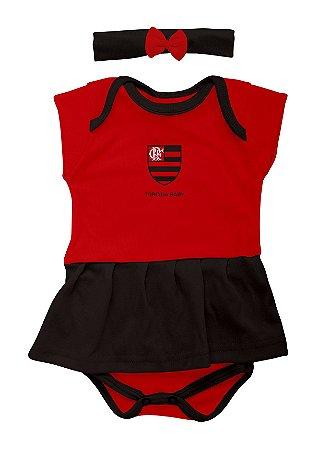 Body Saia Com Tiara Flamengo - Torcida Baby