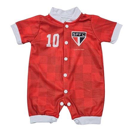 Macacão Bebê  São Paulo Vermelho Curto - Torcida Baby