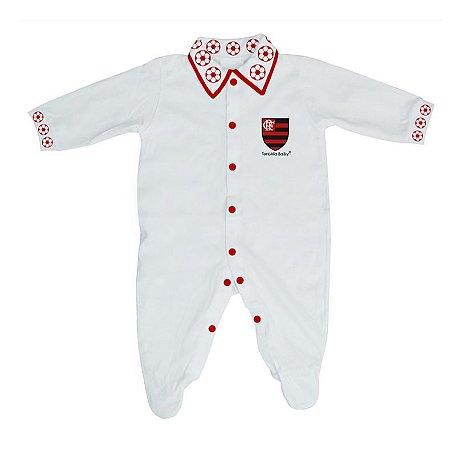 Macacão Longo Flamengo Bebê Bolinhas - Torcida Baby