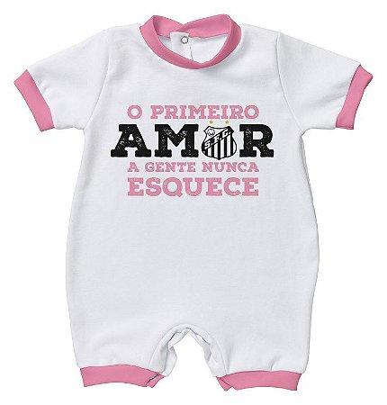 Macacão Bebê Santos Primeiro Amor Rosa - Torcida Baby