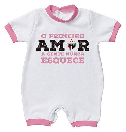 Macacão São Paulo Primeiro Amor Rosa - Torcida Baby