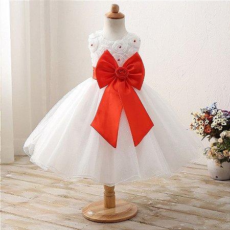 Vestido Infantil Festa Casamento Batizado Laço Vermelho
