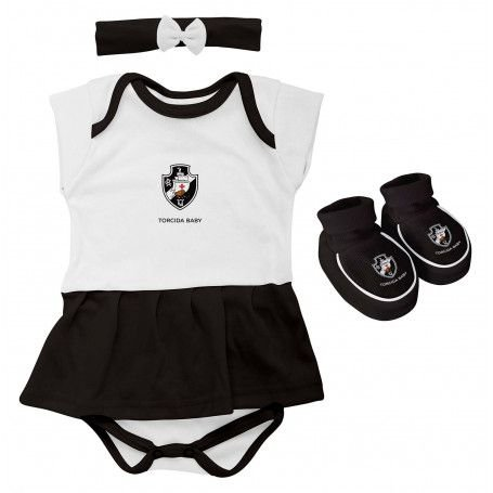 Kit Bebê Vasco 3 Peças Menina Torcida Baby
