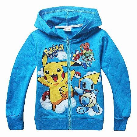 Blusa Malha Infantil Pokemon Azul