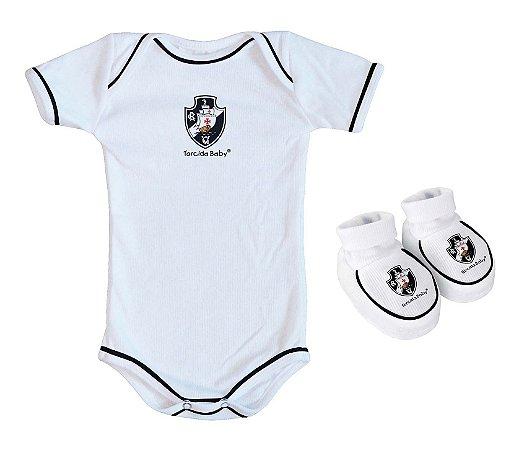 Body e Pantufa Vasco Branco Torcida Baby