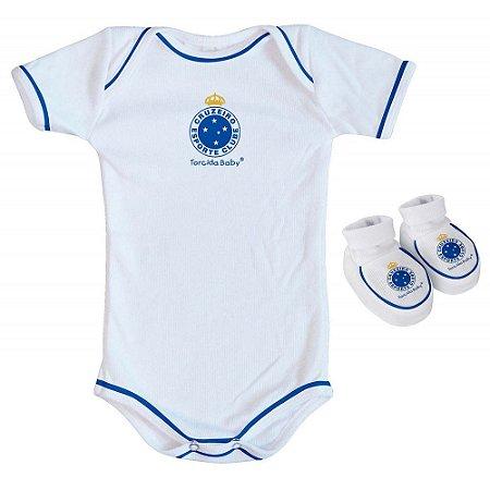 Body e Pantufa Cruzeiro Branco Torcida Baby