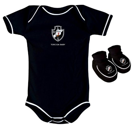 Body e Pantufa Vasco Preto Torcida Baby