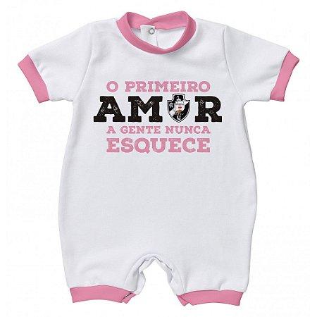 Macacão Bebê Vasco Primeiro Amor Rosa - Torcida Baby