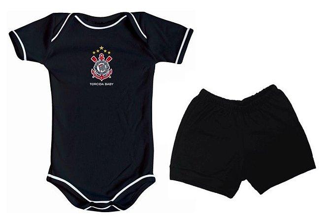 Body e Shorts Corinthians Preto Torcida Baby
