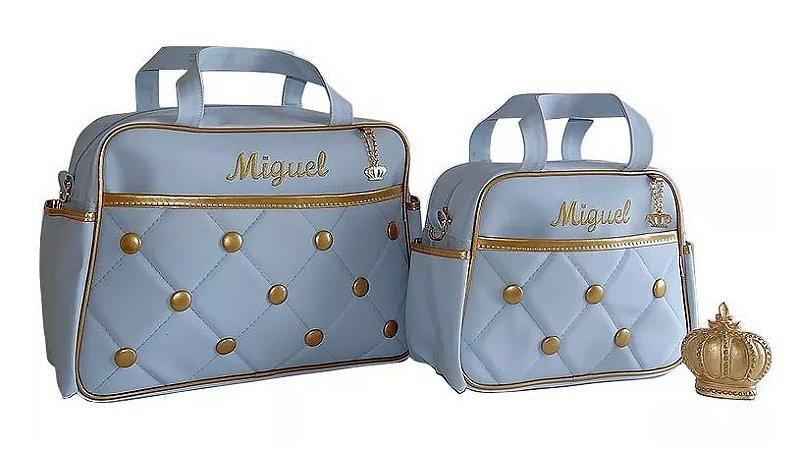 Kit Bolsas Maternidade Rei Personalizadas Azul Bebê 4 Pçs