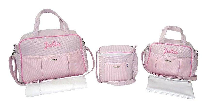 Kit Bolsas Maternidade Personalizadas Rosa 5 Pçs