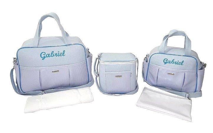 Kit Bolsas Maternidade Personalizadas Azul Bebê 5 Pçs