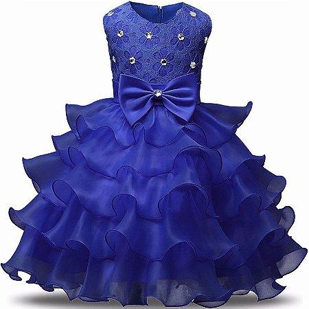 Vestido Infantil Festa Casamento Batizado Azul Laço