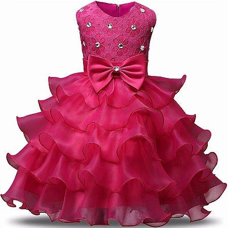 Vestido Infantil Festa Casamento Batizado Pink Laço