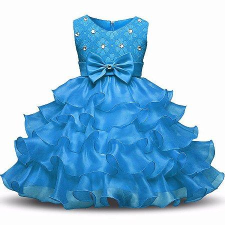 Vestido Infantil Festa Casamento Batizado Azul Claro Laço
