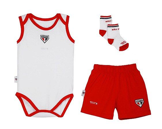 Kit São Paulo Body Shorts e Meia Infantil Oficial