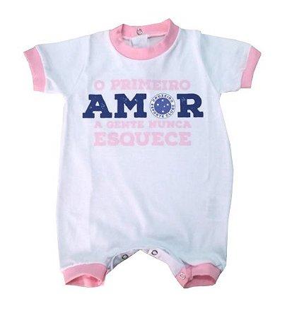 Macacão Cruzeiro Primeiro Amor Rosa - Torcida Baby