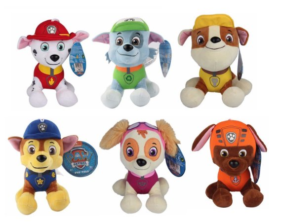 Kit Pelúcia Patrulha Canina Com 6 Personagens 20cm