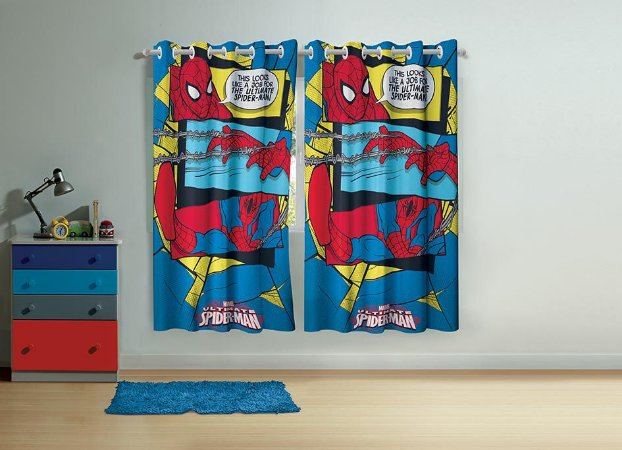 Cortina Infantil Spider Man Ultimate 2 Pçs 1,50 x 1,80 - Lepper