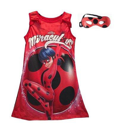 Vestido Infantil LadyBug Miraculous Joaninha Vermelho