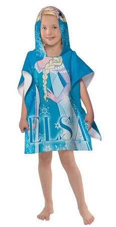 Toalha Poncho infantil com Capuz Frozen Elsa Lepper