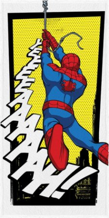 Toalha Felpuda Infantil Spider Man 60 cm x 1,20 m Amarela