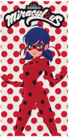 Toalha Felpuda Infantil Ladybug 60 cm x 1,20 m Bolinhas