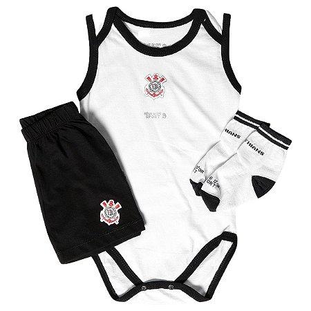 Kit Bebê Corinthians Body Shorts e Meia Infantil Oficial