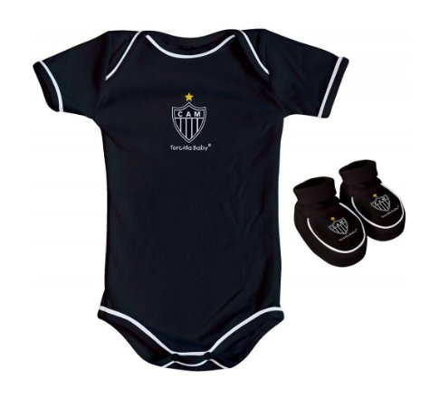Body e Pantufa Atlético MG Preto Torcida Baby