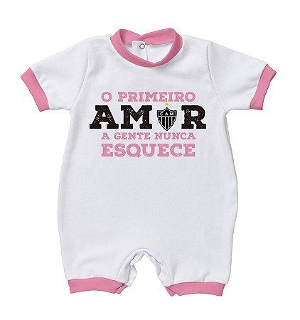 Macacão Bebê Atlético MG Primeiro Amor Rosa - Torcida Baby