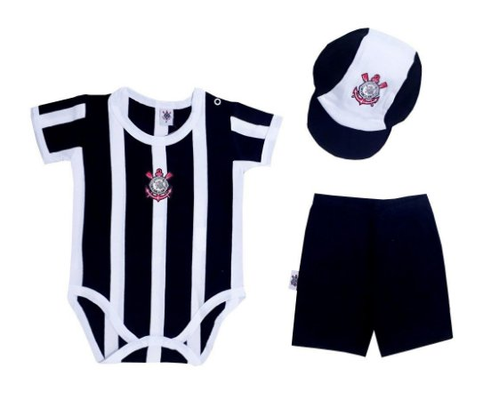 Kit Bebê Corinthians Body Short Boné Away Oficial