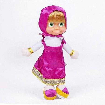 Boneca Pelúcia Masha Roupa Rosa 26cm