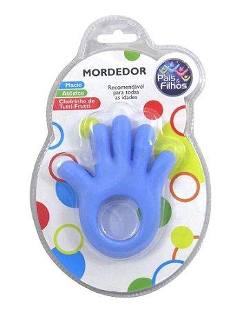 Mordedor Bebê Mãozinha Azul Pais e Filhos